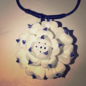 Jewelry - Ceramic Flower cord  necklace &  drawstring pouch